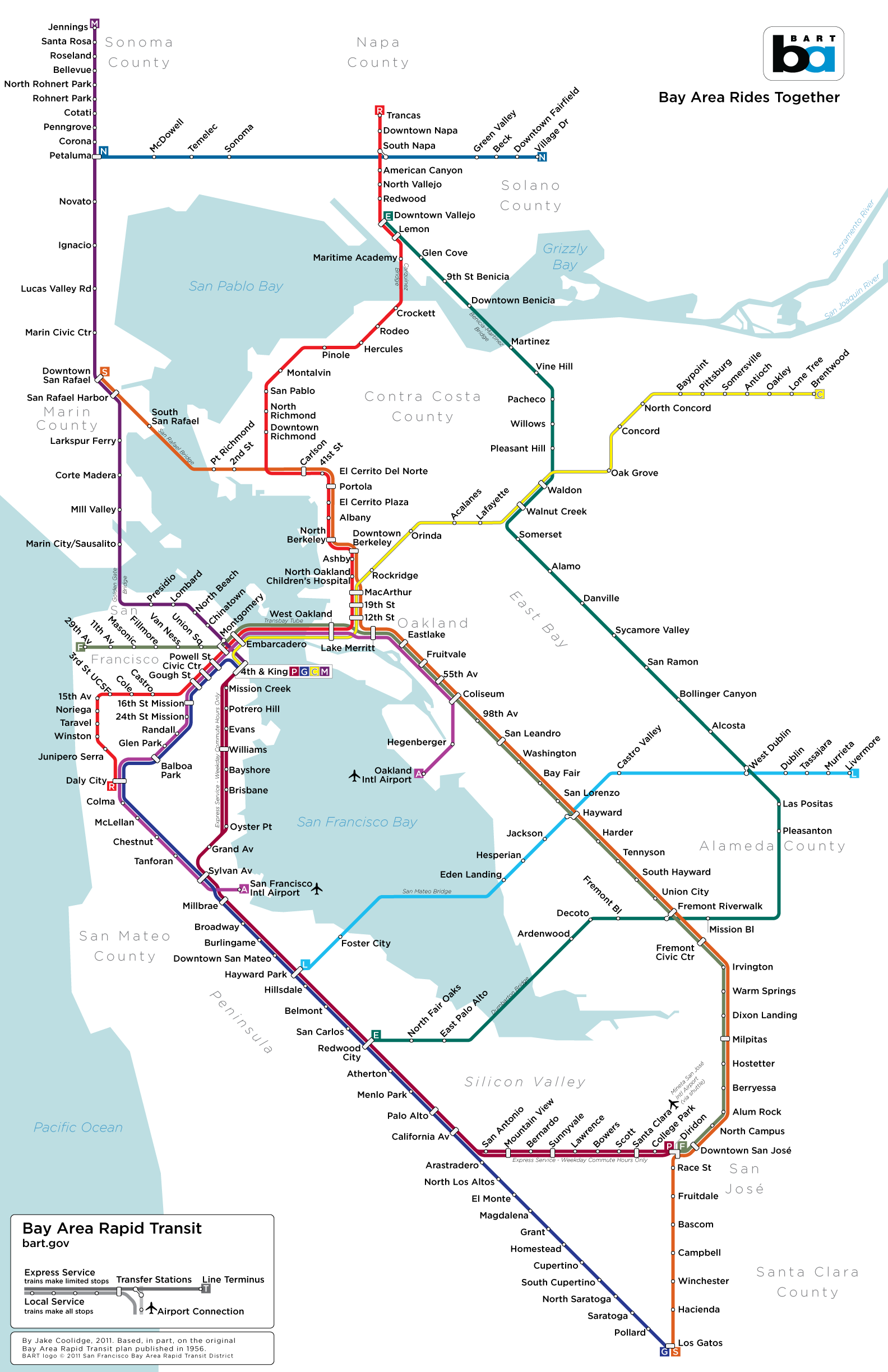 BART System Map – 1956 Concept – Hensolt SEAONC Legacy Project