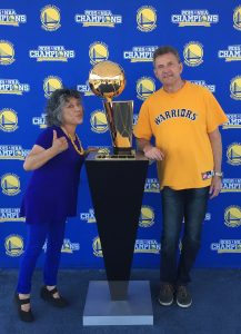 Steve and Lulu Tipping celebrating the Warriors